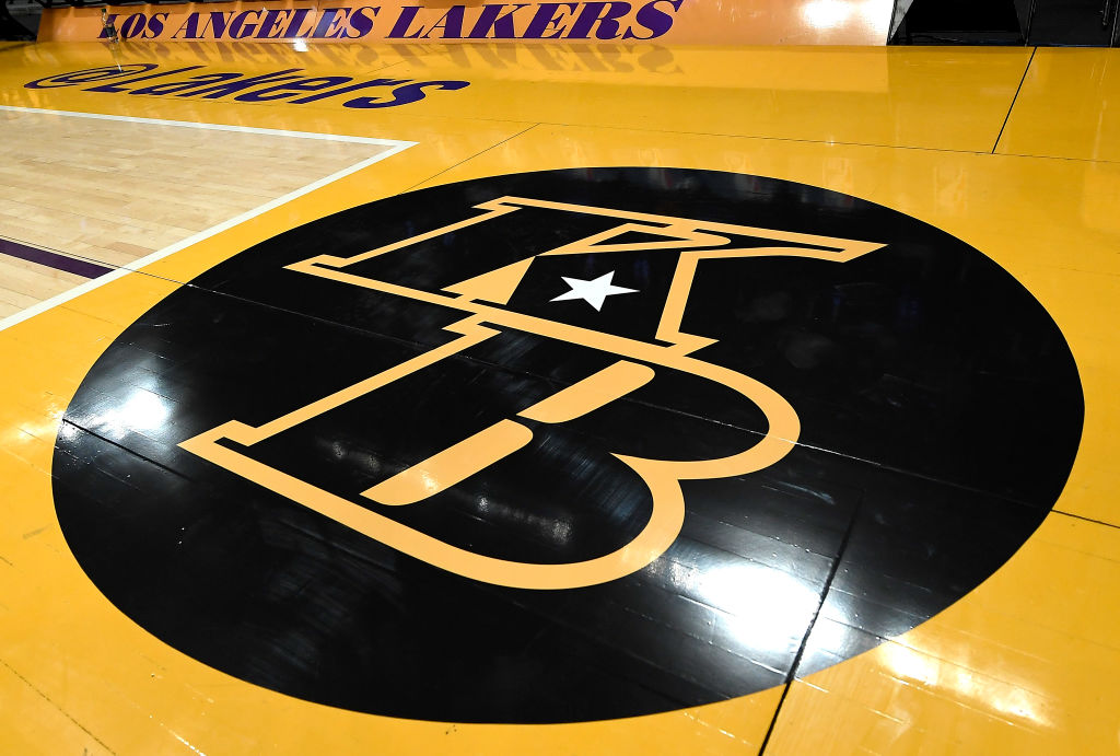 A detail of the Los Angeles Lakers logo in honor of Kobe Bryant