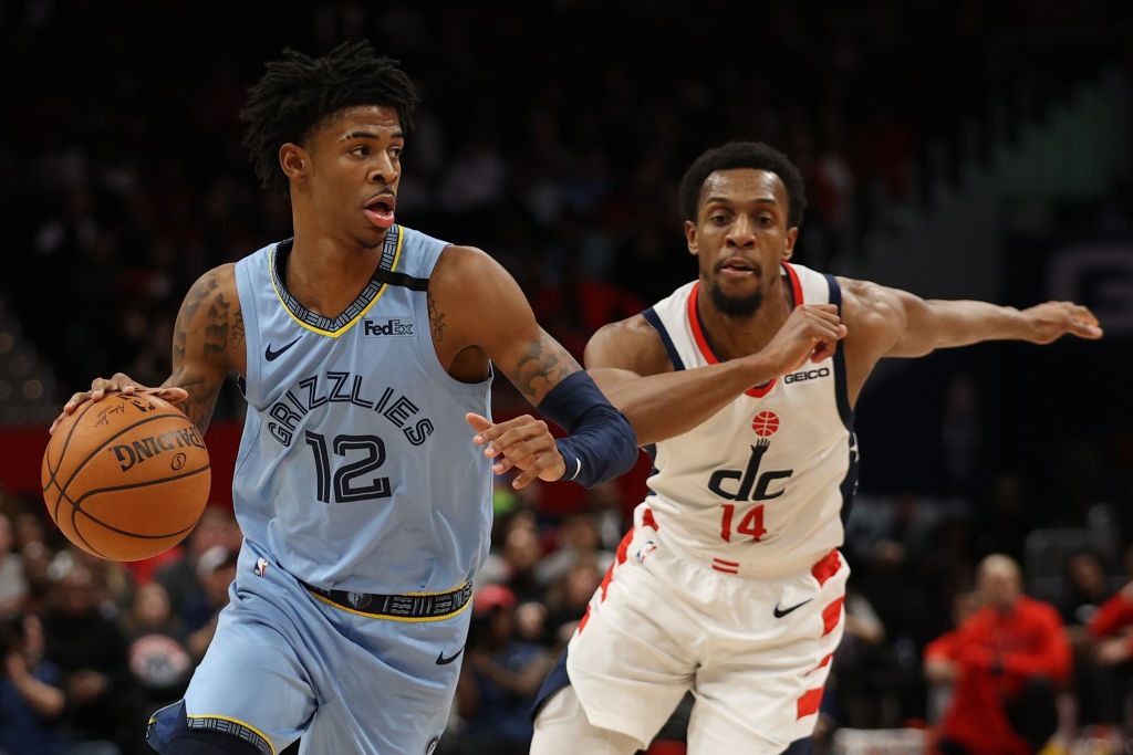 Ja Morant playing in an NBA game for the Memphis Grizzlies