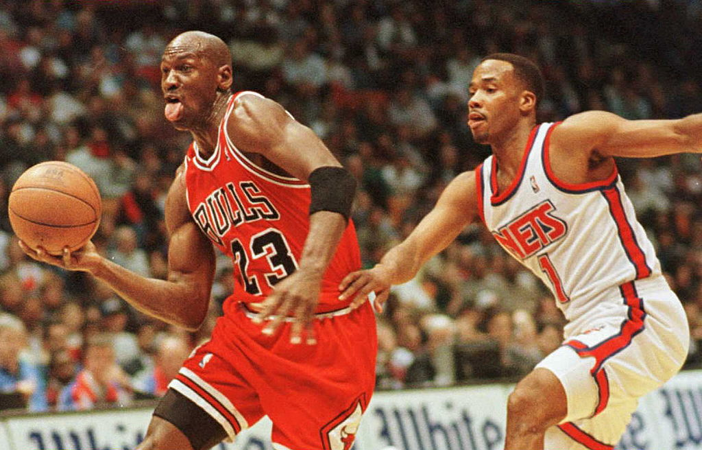 Michael Jordan's famous shrug was apparently directed at Magic Johnson.