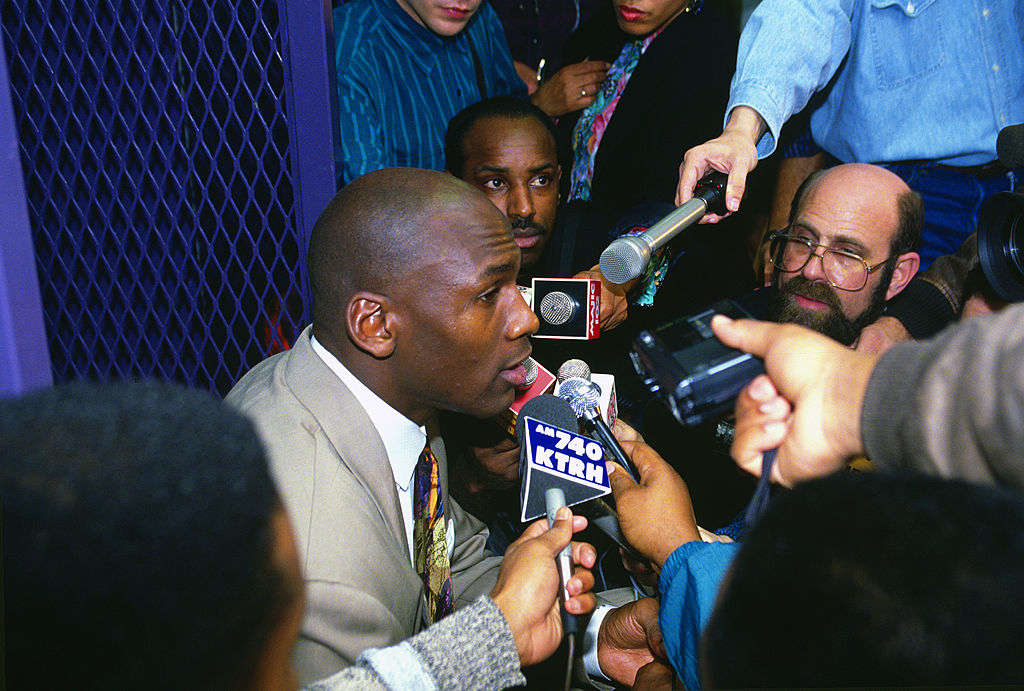 Michael Jordan of the Chicago Bulls talks with the media after the 1992 NBA Finals