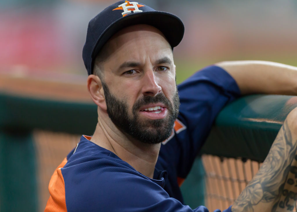 Former House Astros pitcher Mike Fiers in the dugout during a game in 2017.