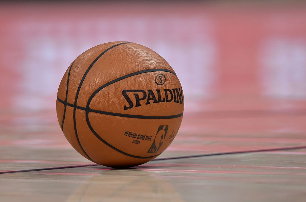 An NBA basketball on the court before a game