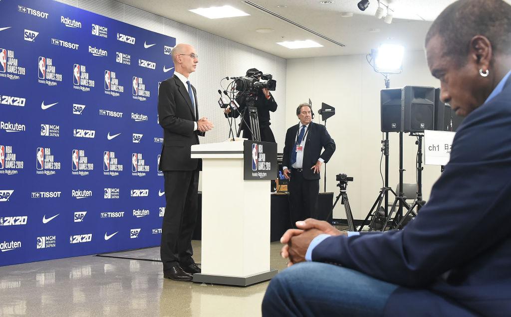 NBA commissioner Adam Silver attends a pre-game press conference