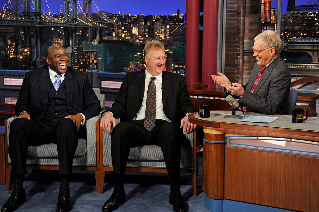 NBA legends Magic Johnson (L) and Larry Bird (C) talk with Dave Letterman in 2012