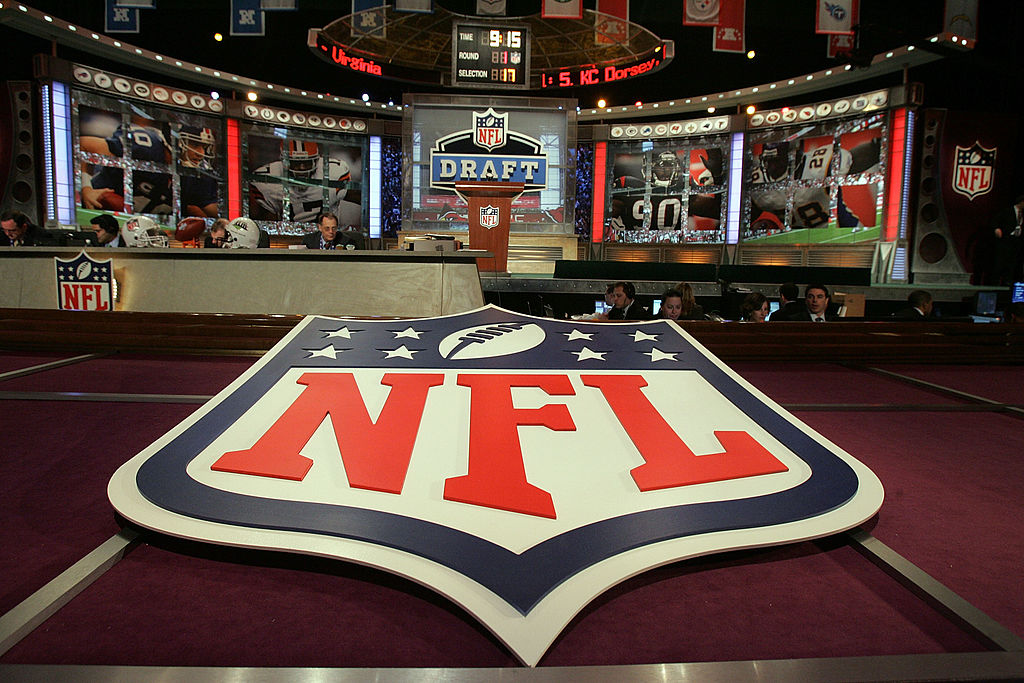A photo of the stage set up for an NFL draft