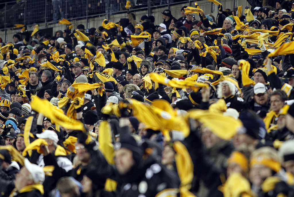 Pittsburgh Steelers fans root their team on from the stands during a football game
