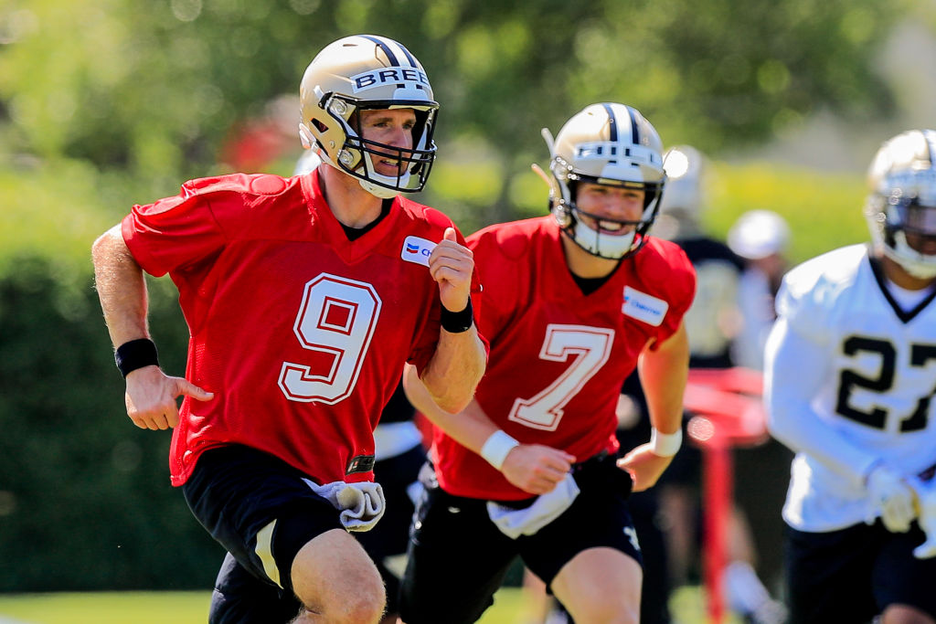 New Orleans Saints quarterbacks Drew Brees and Taysom Hill at practice