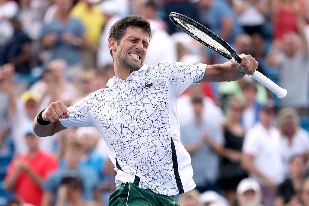 Novak Djokovic celebrating after winning a point