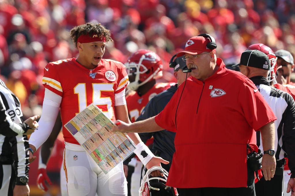 Chiefs quarterback Patrick Mahomes and head coach Andy Reid