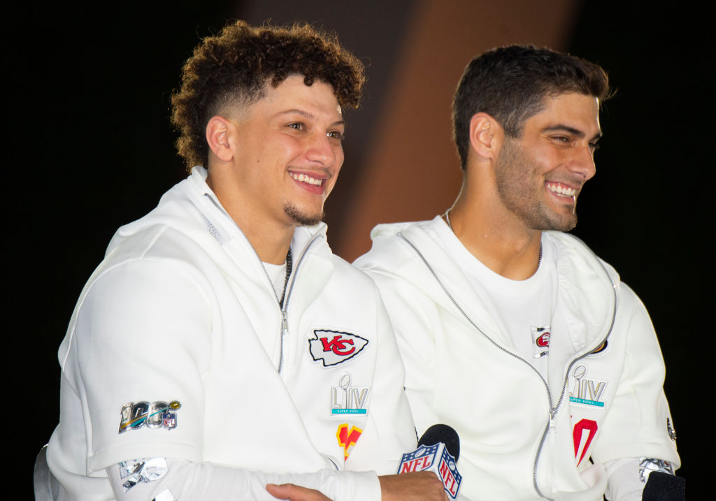 Patrick Mahomes and Jimmy Garoppolo will face off on Super Bowl Sunday.