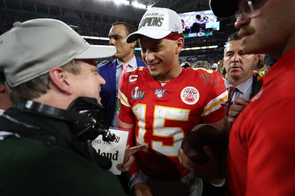 Patrick Mahomes of the Kansas City Chiefs celebrates after defeating the 49ers
