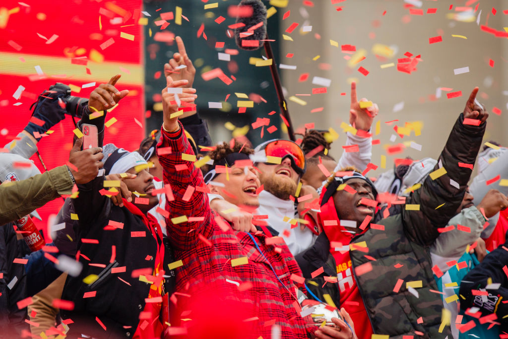 Patrick Mahomes of the Kansas City Chiefs celebrates with the Super Bowl MVP trophy