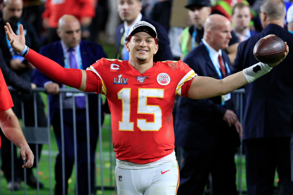 Patrick Mahomes celebrates after winning the Super Bowl