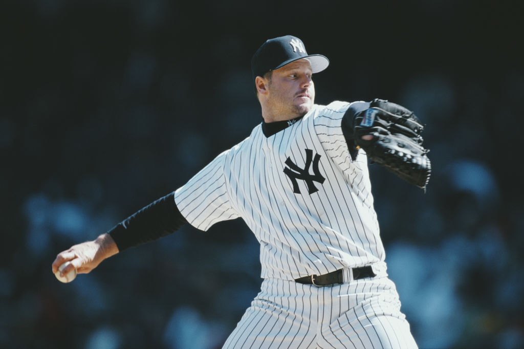 Roger Clemens pitching for the Yankees