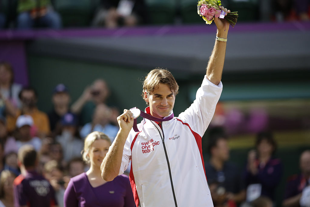 Roger Federer with the silver medal at the 2012 Summer Olympics