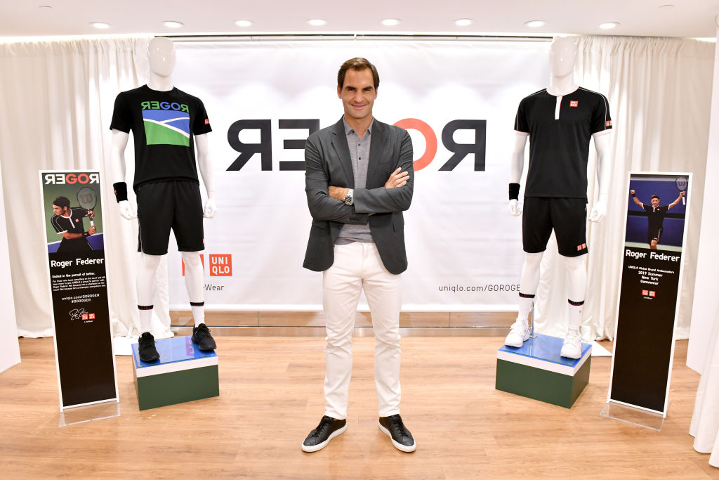 Roger Federer launches a new Uniqlo LifeWear Collection at the Uniqlo NYC Flagship