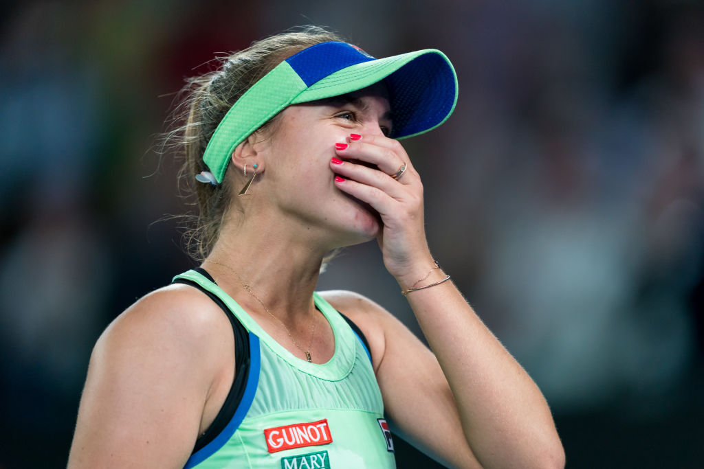 Sofia Kenin celebrates after winning the Australian Open