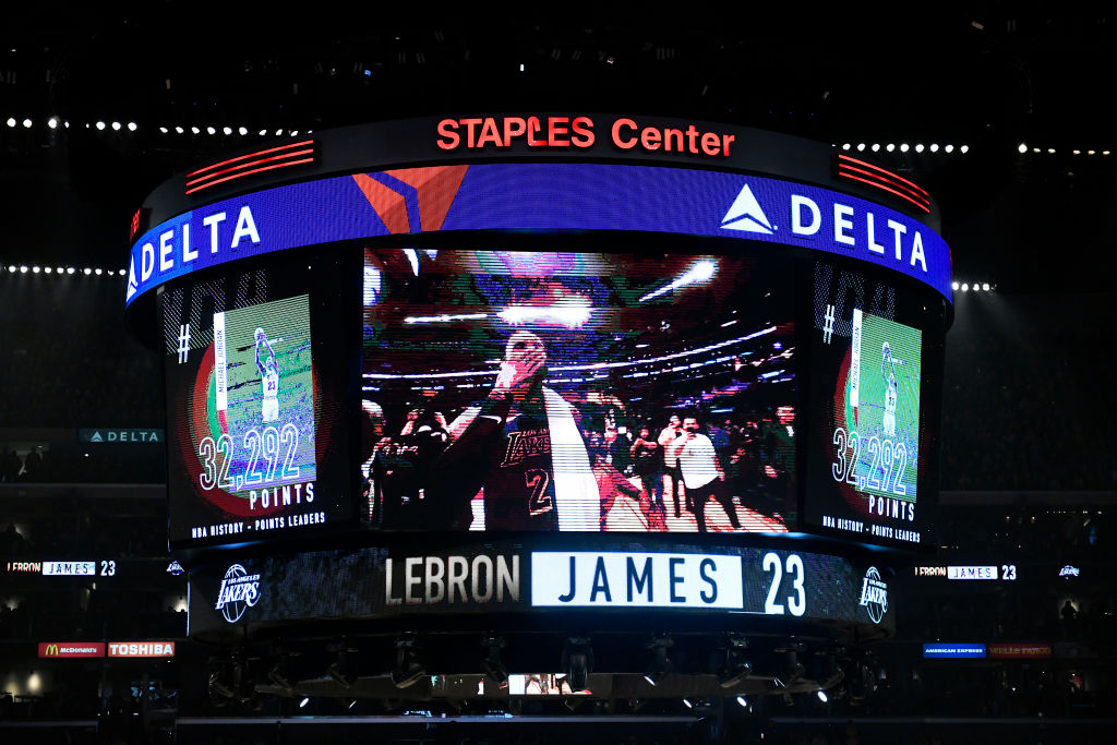 Staples Center's jumbotron after LeBron James of the Los Angeles Lakers scored to pass Michael Jordan on the NBA's all-time scoring list