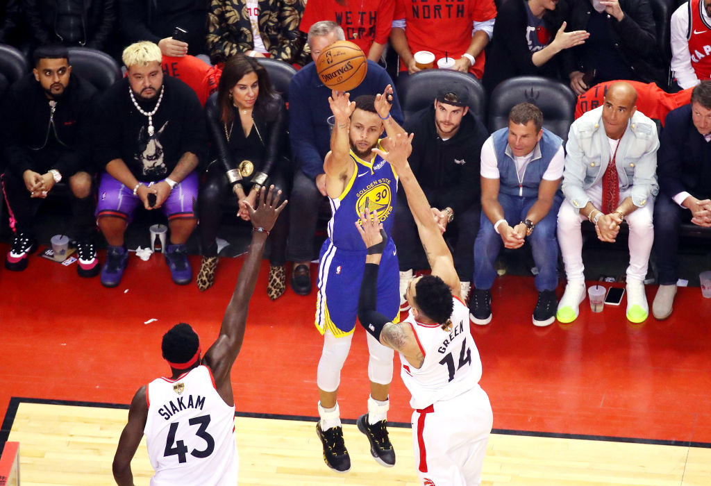 Stephen Curry of the Golden State Warriors attempts a jump shot