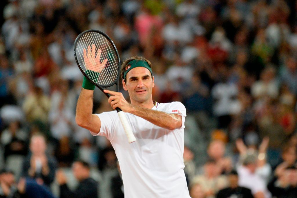 Switzerland's Roger Federer reacts after his victory against Spain's Rafael Nadal at The Match in Africa in 2020.