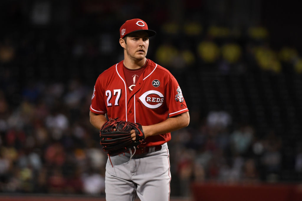 Trevor Bauer of the Cincinnati Reds delivers a pitch