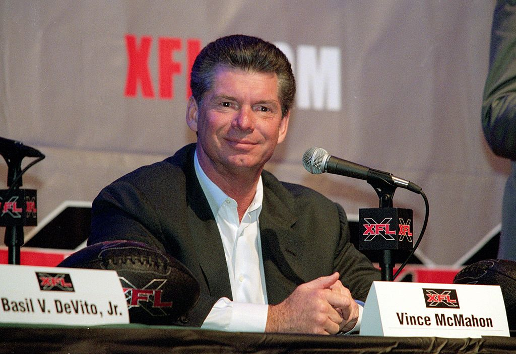 Vince McMahon smiles during an XFL Press Conference in 2000