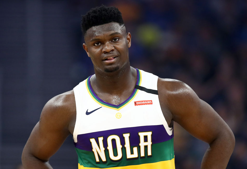 Zion Williamson of the New Orleans Pelicans stands on the court
