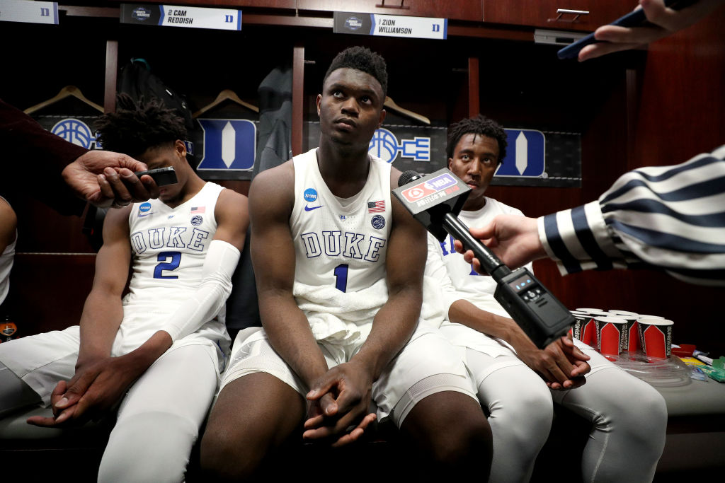 Zion Williamson of the Duke Blue Devils is interviewed after a loss to Michigan State