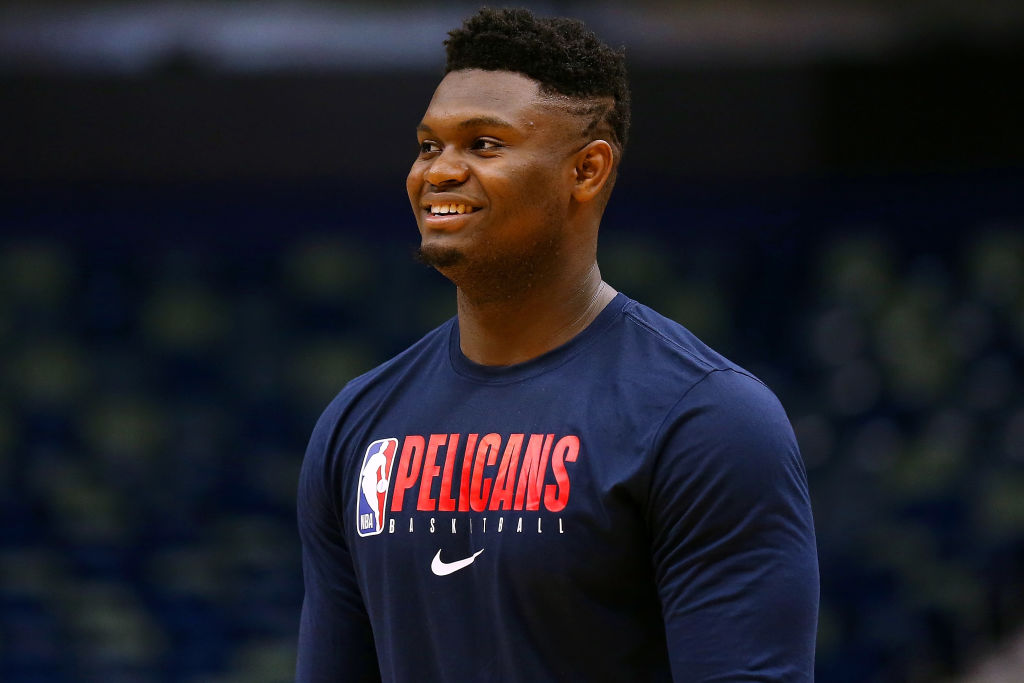 Zion Williamson of the New Orleans Pelicans warms up before a game