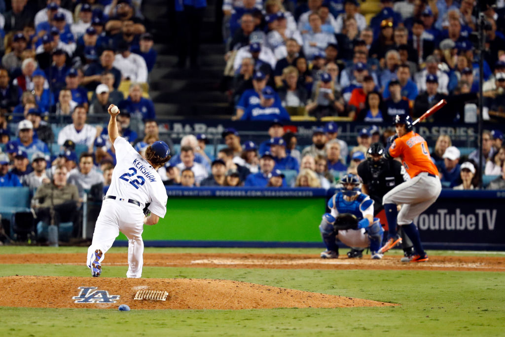 Clayton Kershaw of the Los Angeles Dodgers in Game 7 of 2017 World Series against Houston Astros.