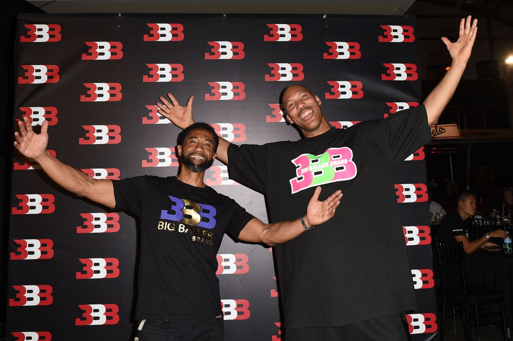 Alan Foster (L) and LaVar Ball attend Melo Ball's 16th Birthday in 2017
