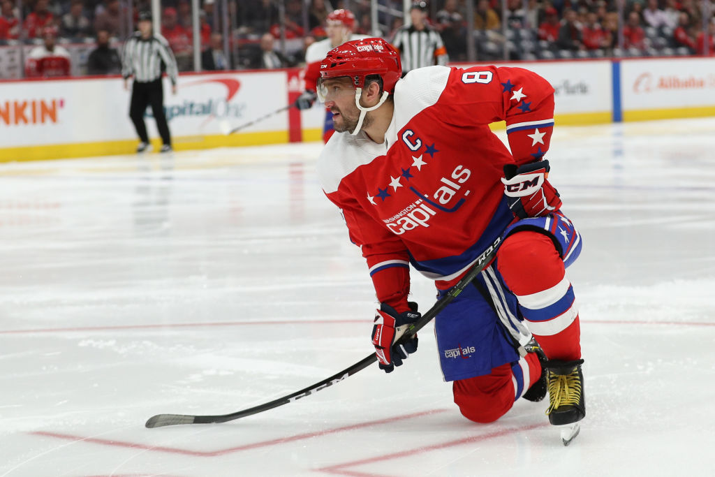 Alex Ovechkin of the Washington Capitals shoots the puck