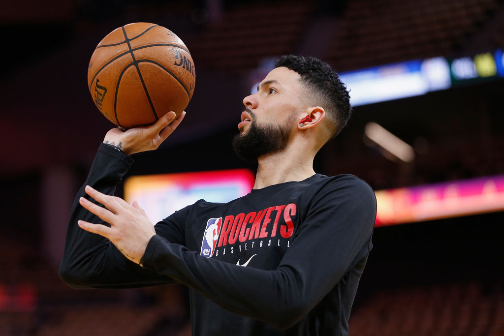 Austin Rivers of the Houston Rockets warms up before a 2020 game