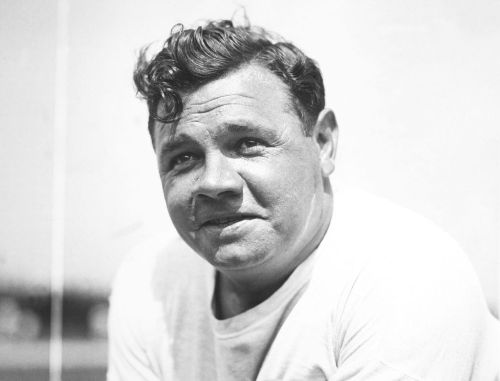 Black and white photograph of baseball player Babe Ruth