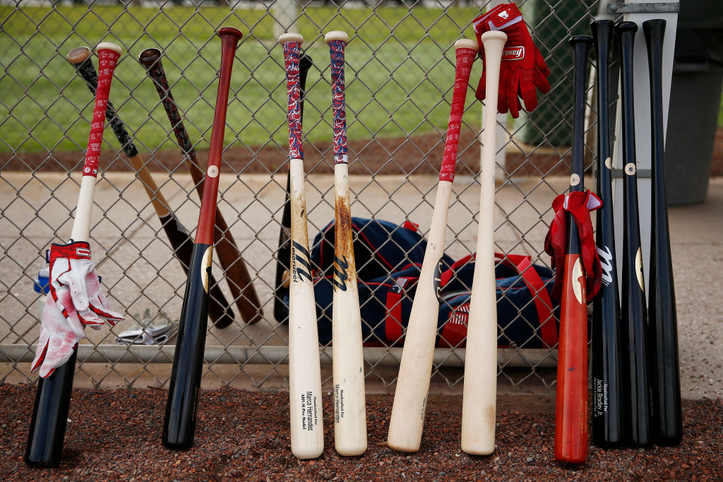 Boston Red Sox bats during a team workout in 2020