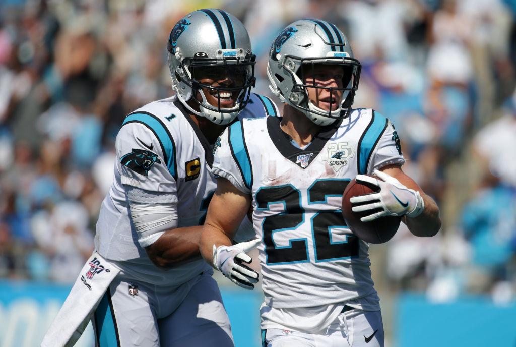 Panthers running Christian McCaffrey and quarterback Cam Newton