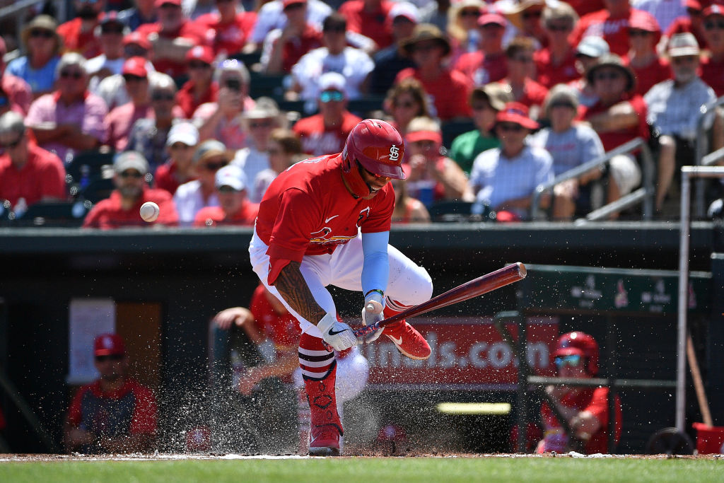 Kolten Wong of the St. Louis Cardinals gets hit by a pitch