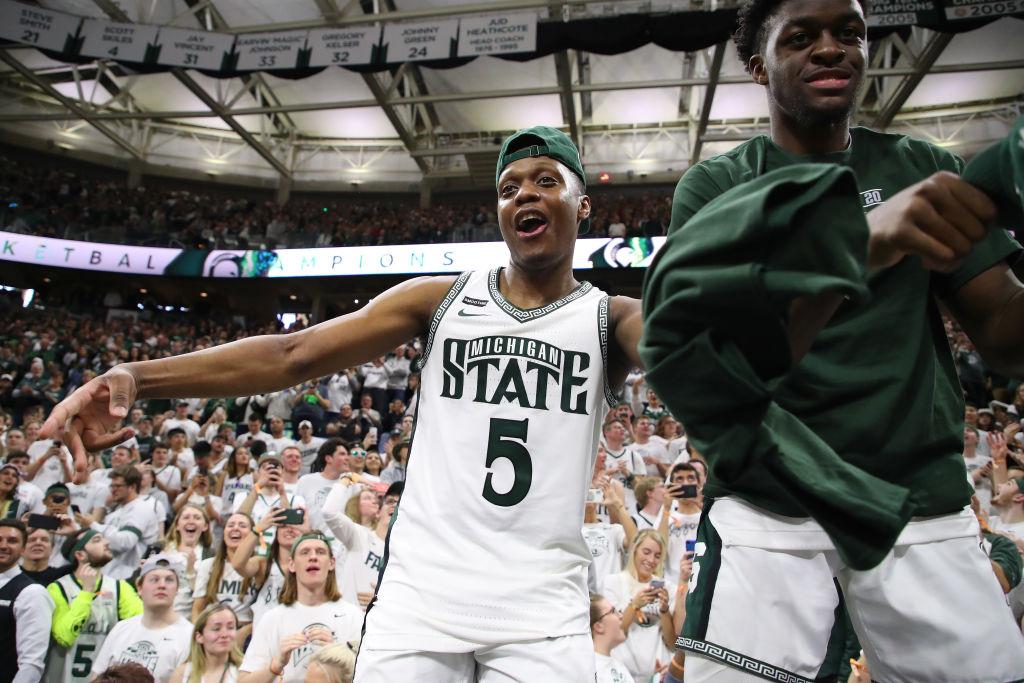 Cassius Winston celebrates a Michigan State victory