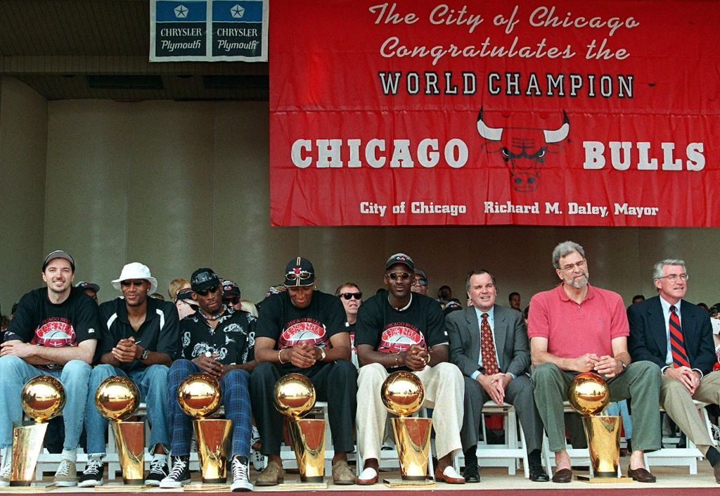 Chicago Bulls 1998 Championship team (L-R): Toni Kukoc, Ron Harper, Dennis Rodman, Scottie Pippen, and Michael Jordan