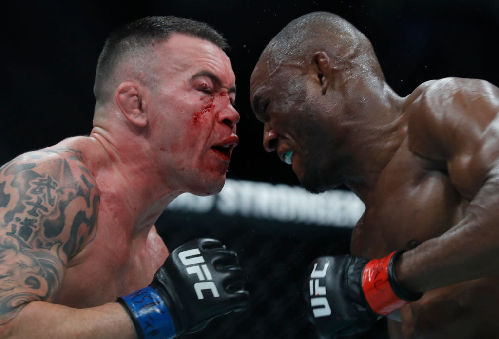 Colby Covington (L) battles with UFC welterweight champion Kamaru Usman