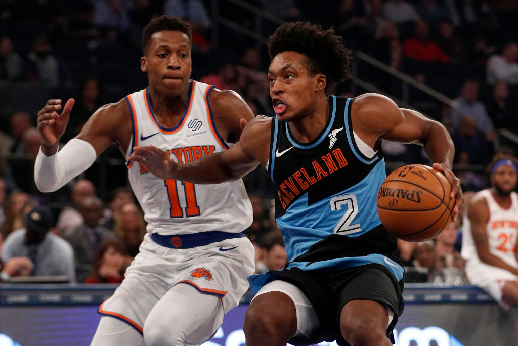 Collin Sexton of the Cleveland Cavaliers against Frank Ntilikina of the New York Knicks