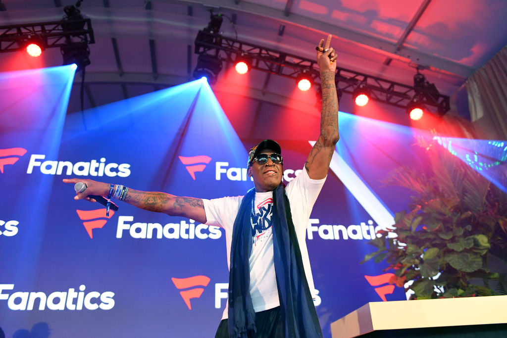 Dennis Rodman speaks onstage at a Super Bowl Party LIV