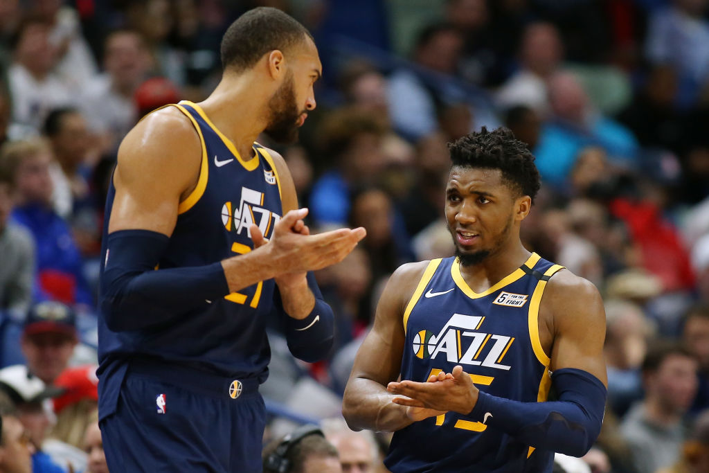 Jazz teammates Rudy Gobert and Donovan Mitchell