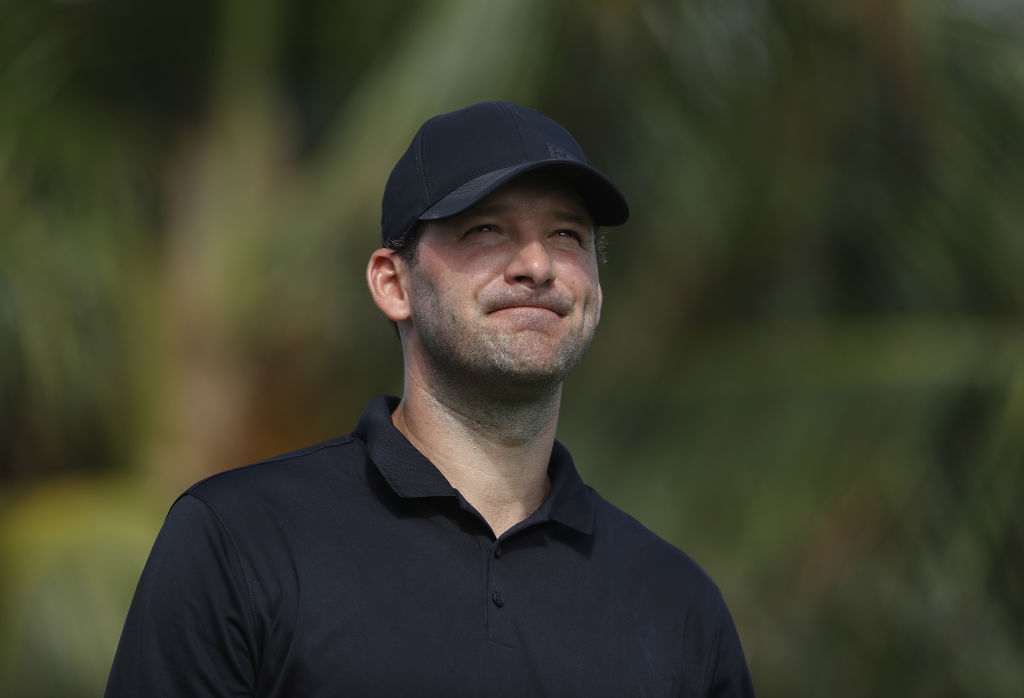 Former NFL Player and amateur golfer Tony Romo waits to play his shot