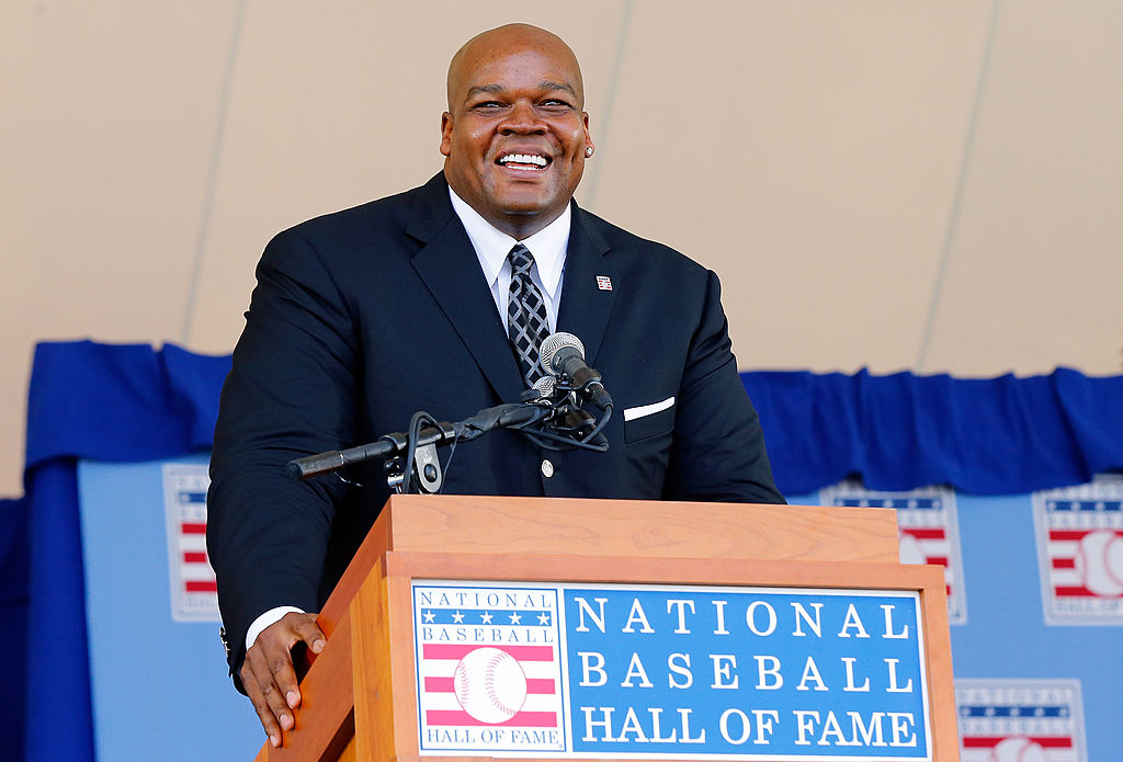 "Former MLB baseball player Frank ""The Big Hurt"" Thomas speaking during an induction ceremony at the National Baseball Hall of Fame"