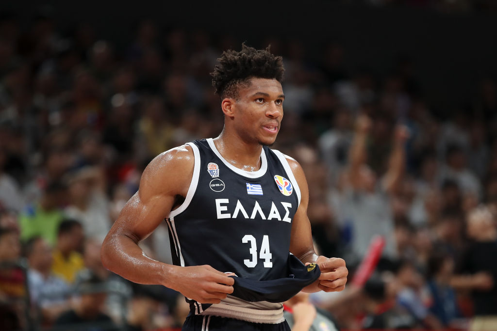 Giannis Antetokounmpo of Greece reacts during FIBA World Cup 2019