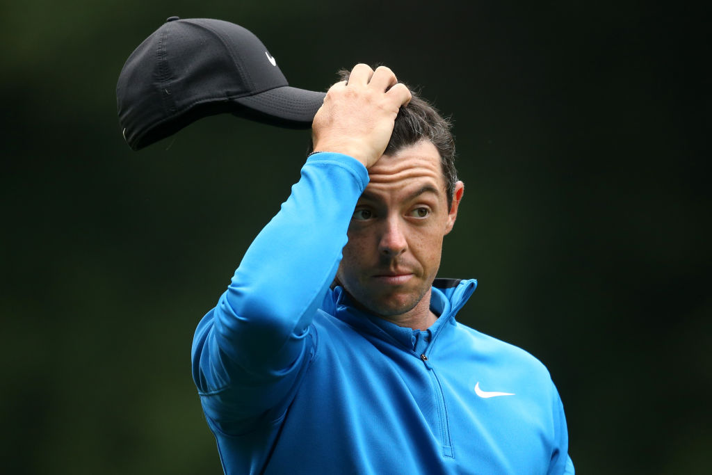 Rory McIlroy of Northern Ireland looks dejected in 2018