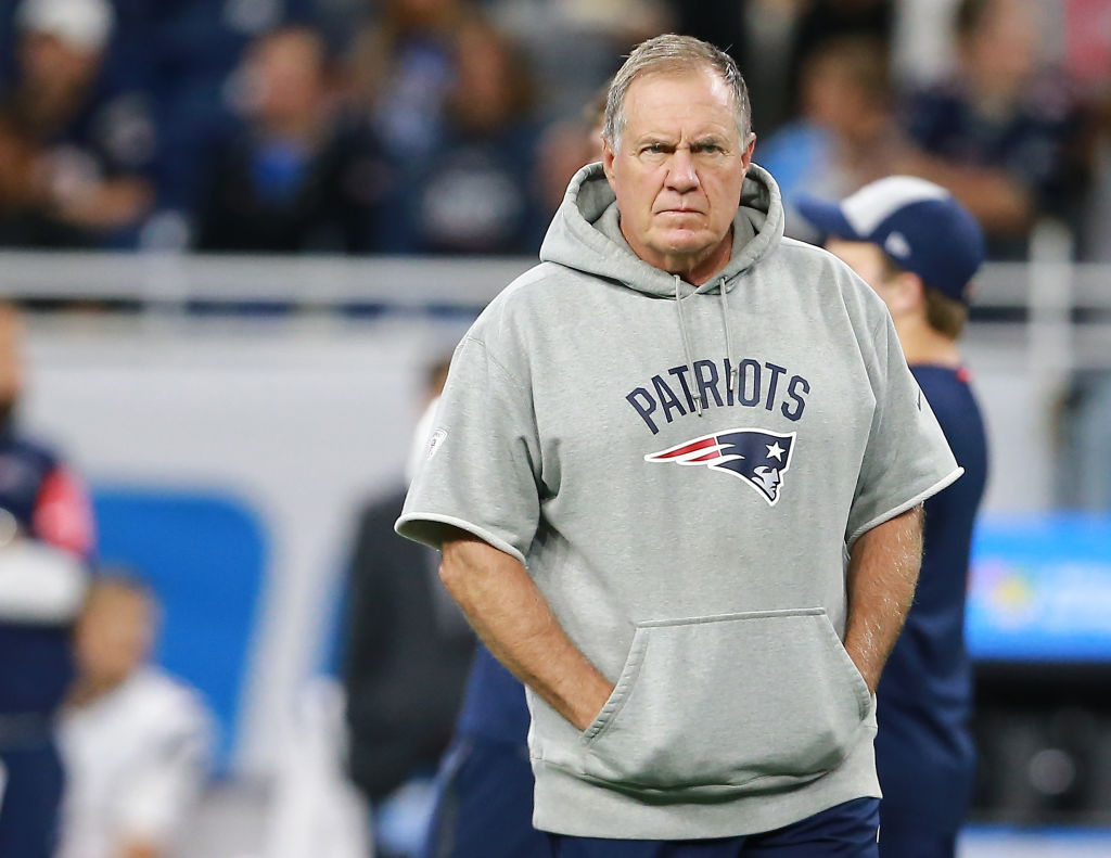 Bill Belichick walking down the sideline during a game