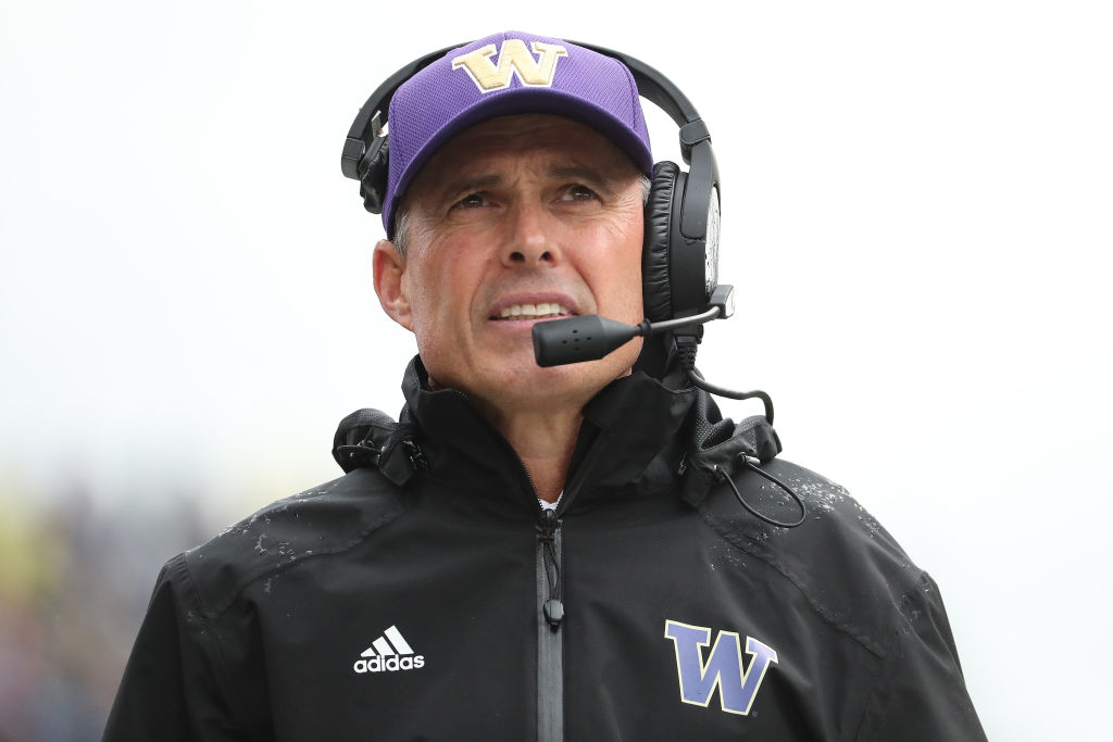 Head Coach Chris Petersen of the Washington Huskies in 2019