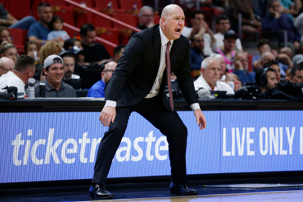 Head coach Jim Boylen of the Chicago Bulls reacts against the Miami Heat